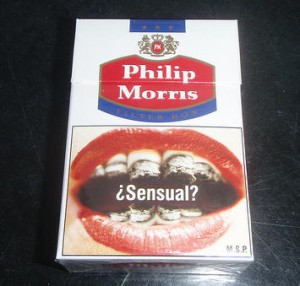 Uruguayan Philip Morris cigarette box. Public image via Physicians for a Smoke-Free Canada