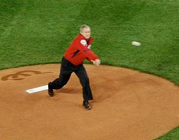 Bush's opening pitch. CC Flickr photo by afagen.