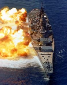 Battleship firing
