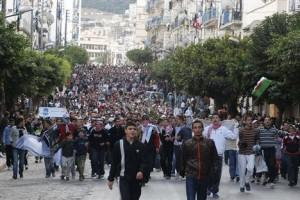 Protest in Algiers: photo via Bikya Masr