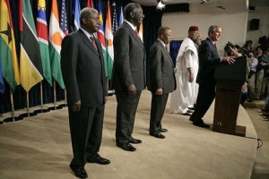 President Bush talks about AGOA with the presidents of Botswana, Ghana, Namibia, Mozambique and Niger