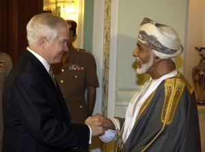 Omani Sultan Qaboos bin Sa'id welcomes U.S. Defense Secretary Robert M. Gates at the Bait Al-Barakah Palace outside Muscat, Oman, April 5, 2008.