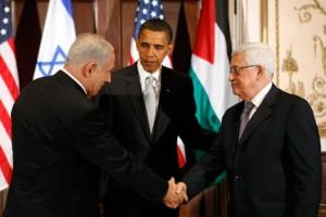 President Obama with Israeli Prime Minister Netanyahu and Palestinian President Mahmoud Abbas