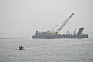 The dredging barge; photo by Alpha Newberry