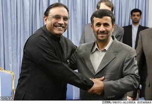 Pakistani President Asif Ali Zardari greets Iranian President Mahmoud Ahmadinejad; photo by Alireza Sotakbar, courtesy of ISNA