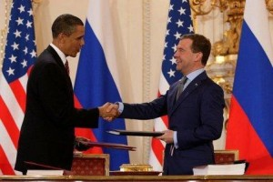 President Barack Obama and Russian President Dmitry Medvedev; image via Flickr