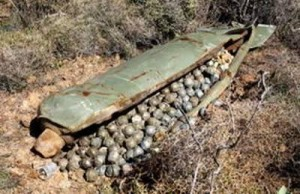 Mother pod full of unexploded cluster bombs