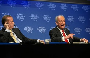 Turkish Prime Minister Recep Tayyip Erdogan and Israeli President Shimon Peres at the World Economic Forum in 2009