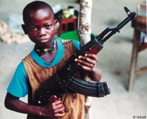 Child soldier in Uganda; photo courtesy of Unicef