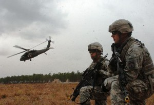 Two military policeman go through training at Fort Bragg, NC. Photo by Spc. Garett Hernandez