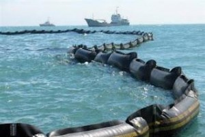 Floating oil barrier in the South China Sea