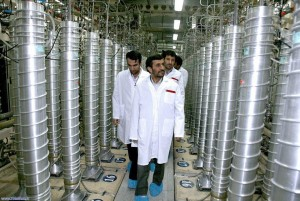 Iranian President Mahmoud Ahmadinejad tours a nuclear facility