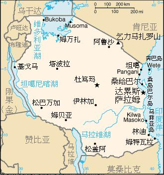 A map of Tanzania in Chinese.