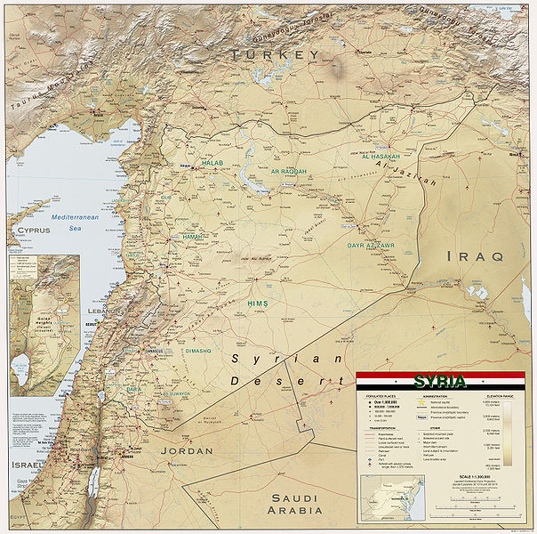 CIA map of Syria. Courtesy Wikimedia Commons