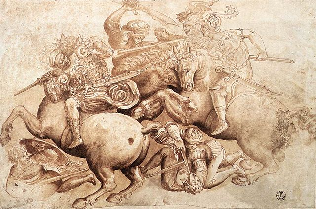"Copy of a detail of ""The Battle of Anghiari,"" Leonardo da Vinci's lost depiction of the futility of war. Courtesy Wikimedia Commons."