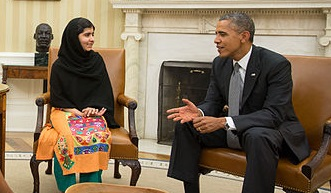 Malala Yousafzai with President Obama. Courtesy Wikimedia Commons