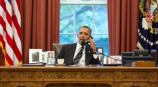 President Obama speaking with Iran's President Hassan Rouhani. Official White House photo by Pete Souza