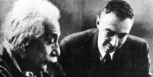 Albert Einstein and Robert Oppenheimer, director of the Manhattan Project. Courtesy Wikimedia Commons
