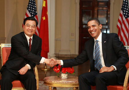 President Obama and China's former President Hu Jintao.