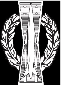 The embroidered basic missile operations badge, also known as a pocket rocket. Image Wikipedia