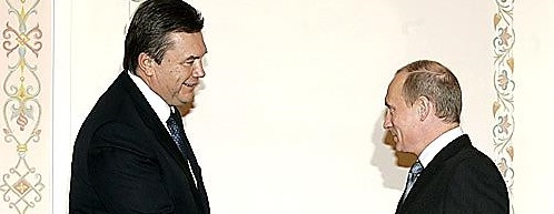 Ukraine President Yanukovych and Russian President Putin. Image Wikimedia Commons