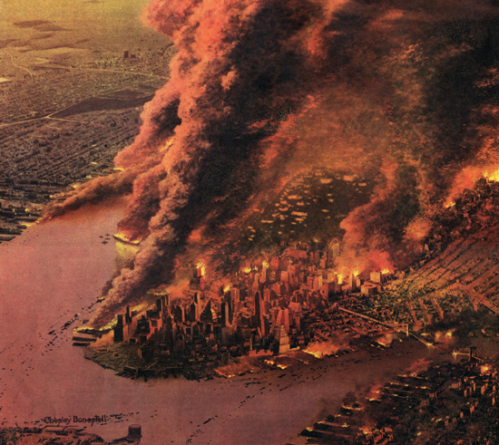 Illustration of a nuclear attack on New York, Colliers, 1950