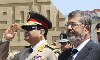 Gen. Abdel Fatah El Sisi and former President Mohamed Morsi