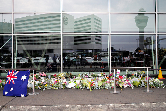Flight MH17 memorial at Amsterdam Airport. (Photo: Roman Boed / Flickr)