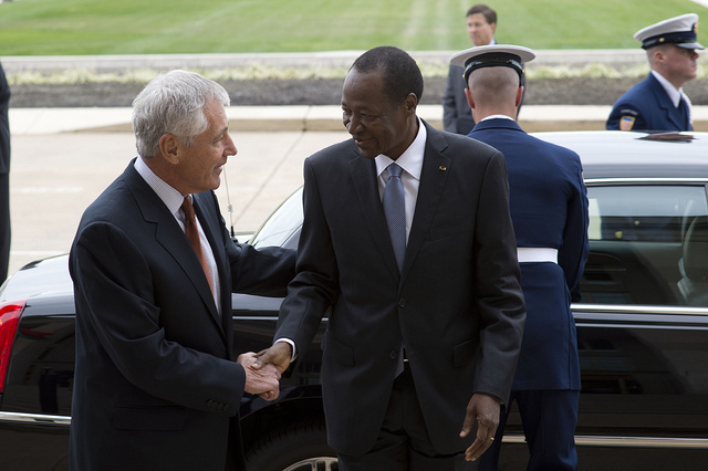 President Compaoré in happier times with U.S. Secretary of Defense Chuck Hagel (Photo: Erin A. Kirk-Cuomo / Flickr Commons)