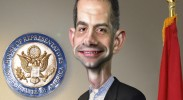 Senator Tom Cotton (R-AK), who wrote the now infamous letter to Iran. (Caricature: DonkeyHotey / Flickr Commons)