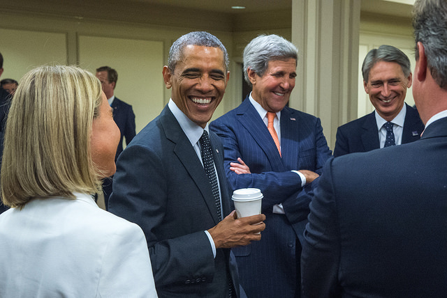 There have been and will be other days to criticize President Obama, but today he deserves praise. Pictured with Secretary of State John Kerry, chief U.S. negotiator of the Iran deal. (Photo: U.S. State Dept.)