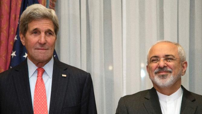 Accepting that Iran is an enemy is a prerequisite to a career in U.S. foreign service. Pictured: Chief nuclear negotiators U.S. Secretary of State John Kerry and Iran Foreign Minister Javad Zarif. (Photo: Yahoo News)