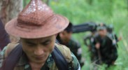 Soldiers from the Karen National Liberation Army in northern Karen State  (photo by Kim Jolliffe)