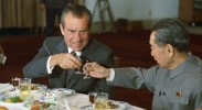 US President Richard Nixon and Chinese Premier Zhou Enlai toast a new relationship.