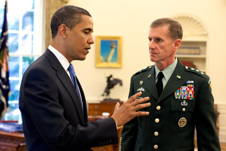 President Barack Obama meets with Lt. Gen. Stanley A. McChrystal, the new U.S. Commander for Afghanistan, in the Oval Office Tuesday, May 19, 2009. (Official White House photo by Pete Souza) This official White House photograph is being made available for publication by news organizations and/or for personal use printing by the subject(s) of the photograph. The photograph may not be manipulated in any way or used in materials, advertisements, products, or promotions that in any way suggest approval or endorsement of the President, the First Family, or the White House.