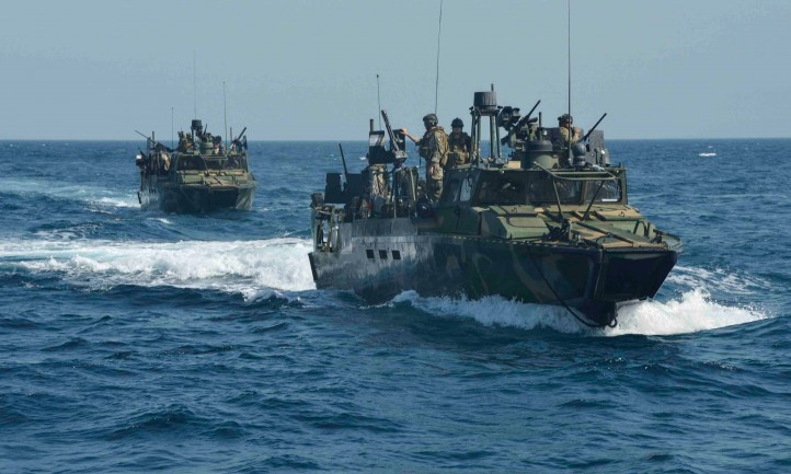 Iran navy patrolling the Persian Gulf. (Photo: the Guardian)