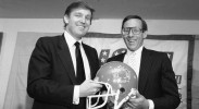 New York real estate magnates Steve Ross, right, and Donald Trump, left, announce agreement, Thursday, August 1, 1985 in New York, to merge the Houston Gamblers and the New Jersey Generals United States Football League teams. Ross heads a group of investors that last week agreed to buy the troubled Houston franchise. (AP Photo/Marty Lederhandler)